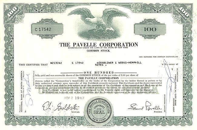 Pavelle Corporation historic stocks - old certificates