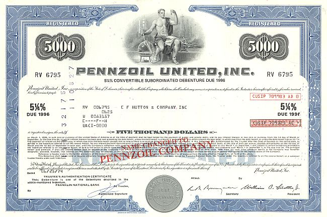 Pennzoil United, Inc. historic stocks - old certificates