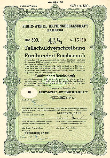 Phrix-Werke Aktiengesellschaft (500 RM 1942) -  historic stocks - old certificates Textile Industry