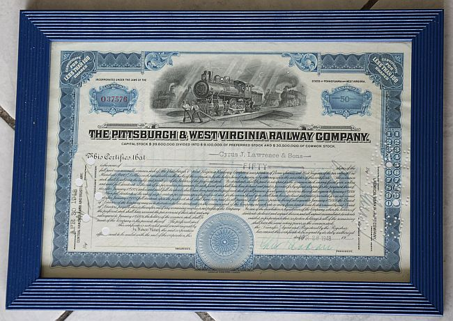 Pittsburgh and West Virginia Railway Company historic stocks - old certificates