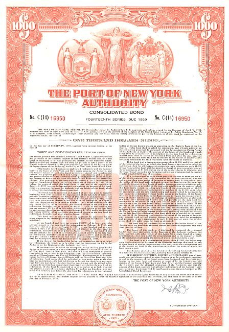 Port of New York Authority historic stocks - old certificates