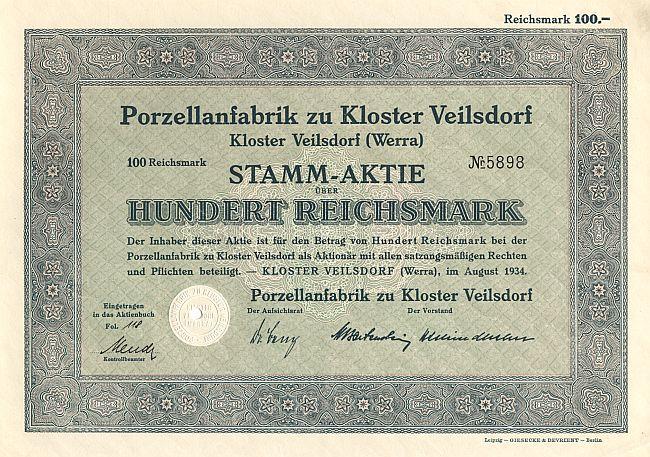 porzellanfabrik zu kloster veilsdorf historische wertpapiere und alte aktien bekannter marken. Black Bedroom Furniture Sets. Home Design Ideas