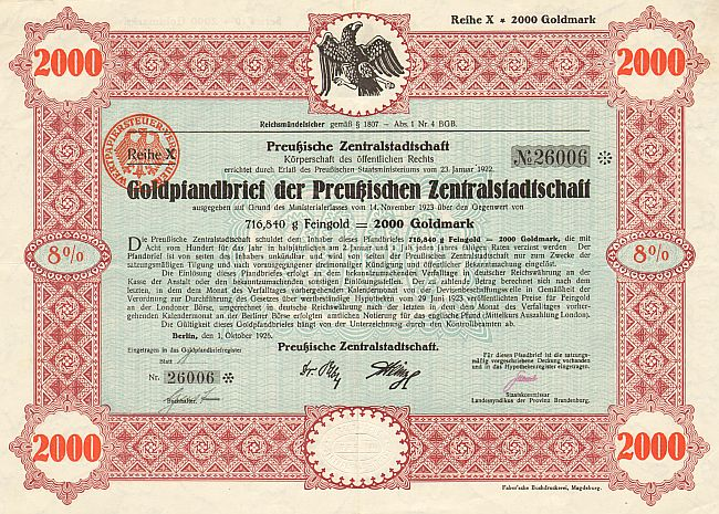 Preussische Zentralstadtschaft (Oktober 1926) 1000 Goldmark  historic stocks - old certificates