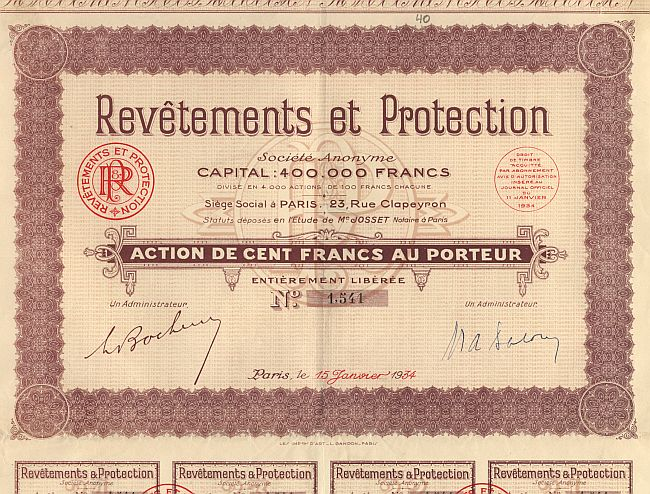 Revetements et Protection historic stocks - old certificates