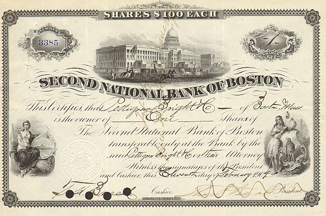 Second National Bank of Boston historic stocks - old certificates