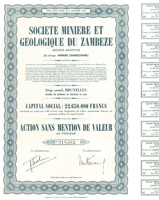 Societe Miniere et Geologique du Zambeze historic stocks - old certificates