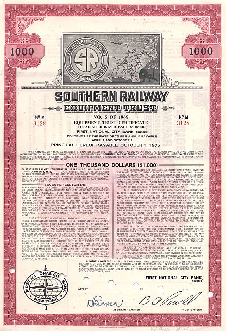Southern Railway Equipment Trust Old Stock Certificates
