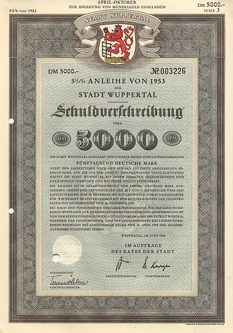 Stadt Wuppertal historic stocks - old certificates