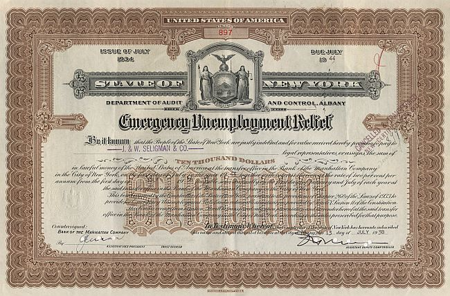 State of New York (10000$ Emergency Unemployment Relief Bond) historic stocks - old certificates