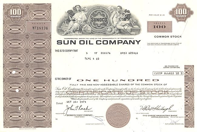 Sun Oil Company (moderne Ausgabe) historic stocks - old certificates