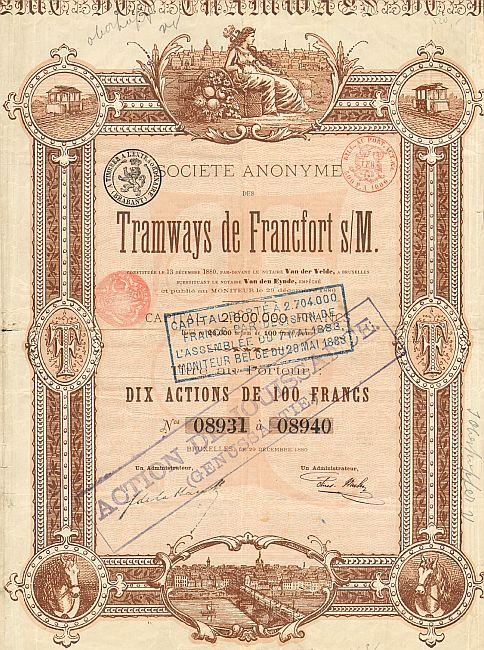 Tramways de Francfort s/M  historic stocks - old certificates