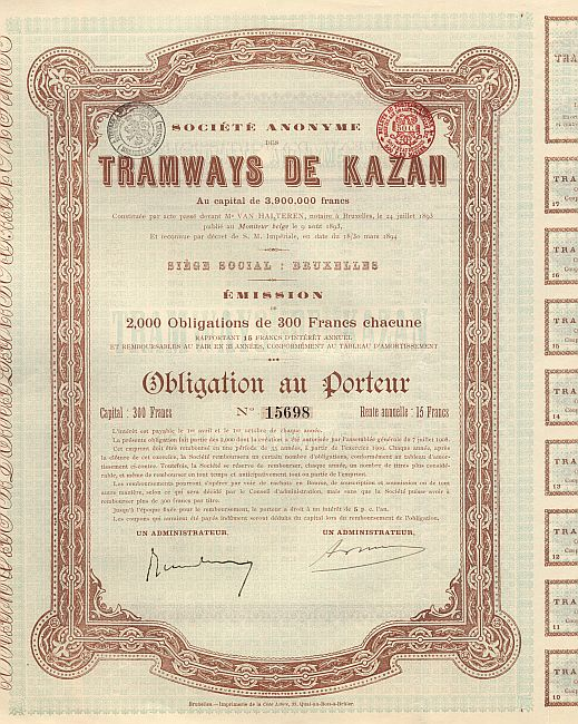 Tramways de Kazan historic stocks - old certificates