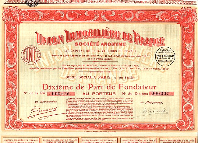 Union Immobiliere de France historic stocks - old certificates
