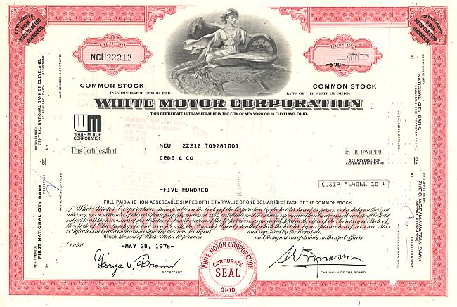White Motor Corporation historic stocks - old certificates