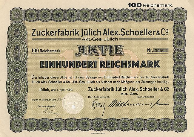 Zuckerfabrik Jülich Alex. Schoeller & Co. historic stocks - old certificates