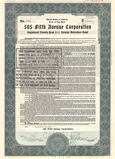 505 Fifth Avenue Corporation historic stocks - old certificates