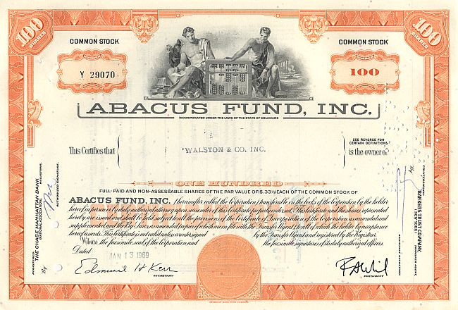 Abacus Fund, Inc. historic stocks - old certificates