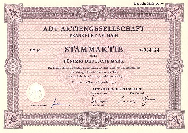 ADT Aktiengesellschaft historic stocks - old certificates