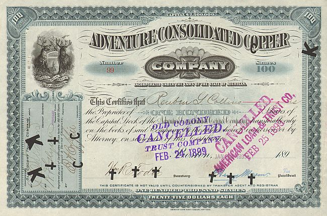 Adventure Consolidated Copper -  historic stocks - old certificates Mining
