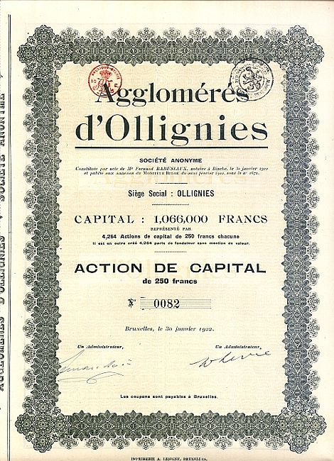 Agglomeres d'Ollignies historic stocks - old certificates