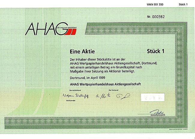 AHAG Wertpapierhandelshaus historic stocks - old certificates