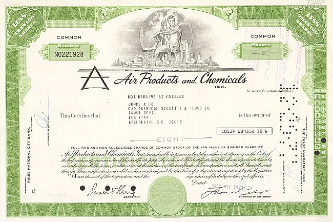 Air Products and Chemicals INC.  historic stocks - old certificates