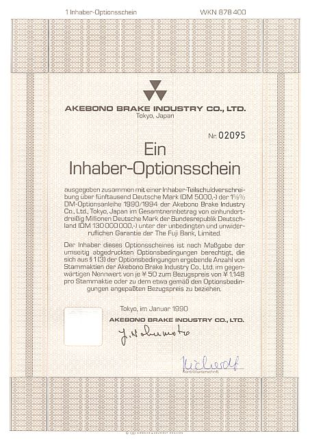 Akebond Brake historic stocks - old certificates