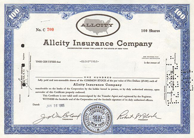 Allcity Insurance Company -  historic stocks - old certificates Banks and Insurance