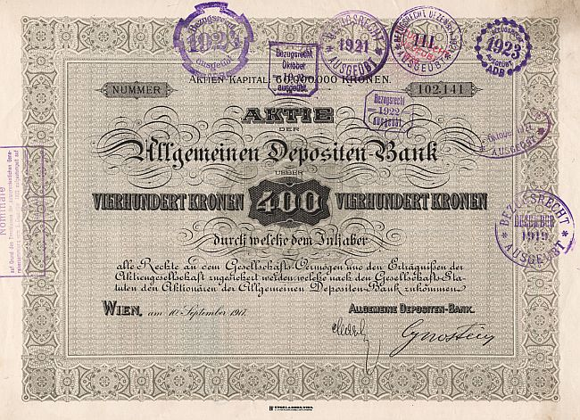 Allgemeine Depositen-Bank (1917) historic stocks - old certificates