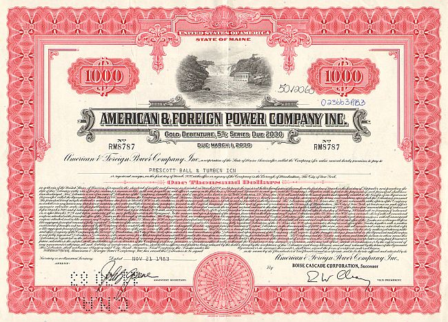 American & Foreign Power Company Inc. historic stocks - old certificates