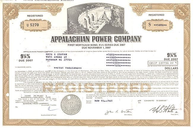 Appalachian Power Company historic stocks - old certificates