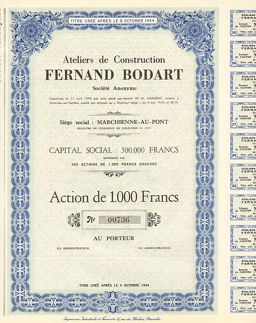 Ateliers de Construction Fernand Bodart historic stocks - old certificates
