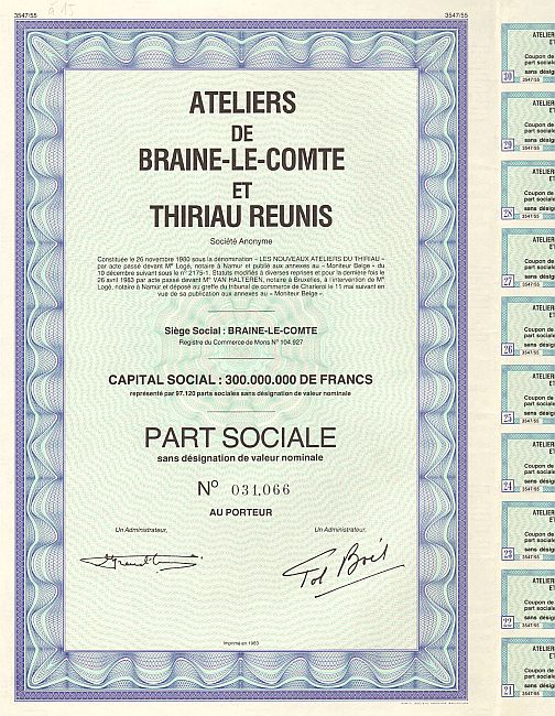 Ateliers de Braine-le-Comte et Thiriau Reunis historic stocks - old certificates