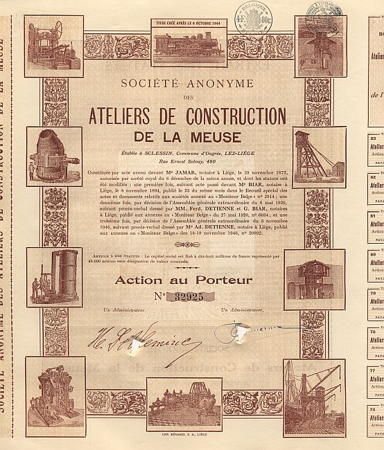 Ateliers de Construction de la Meuse (1940er) historic stocks - old certificates