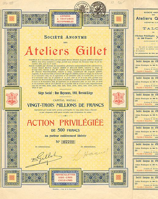 Ateliers Gillet -  historic stocks - old certificates Automobiles