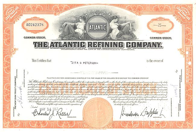Atlantic Refining Company (Firmenlogo) historic stocks - old certificates