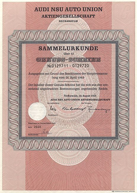 AUDI NSU Auto Union Aktiengesellschaft historic stocks - old certificates