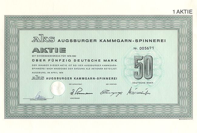 AKS Augsburger Kammgarn - Spinnerei historic stocks - old certificates