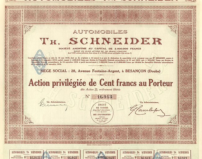 Automobiles Th. Schneider historic stocks - old certificates