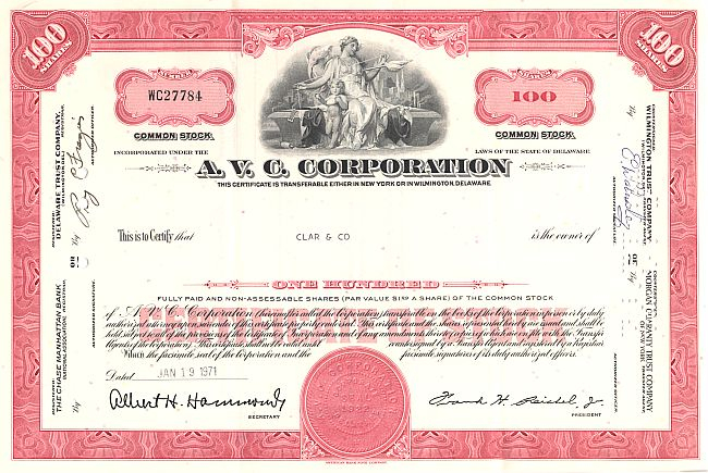 A.V.C. Corporation historic stocks - old certificates