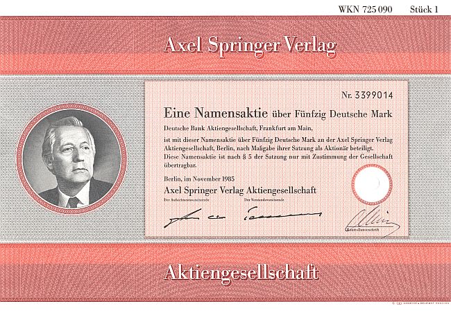 Axel Springer Verlag AG historic stocks - old certificates