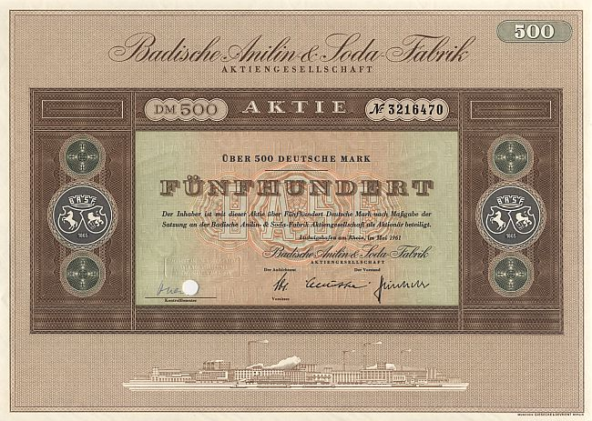 Badische Anilin & Soda Fabrik (BASF) 1961 historic stocks - old certificates