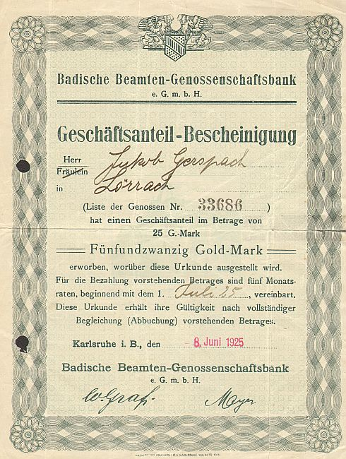 Badische Beamten-Genossenschaftsbank e.G.m.b.H. -  historic stocks - old certificates Banks and Insurance