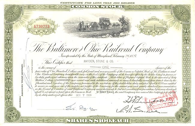 Baltimore and Ohio Railroad Company historic stocks - old certificates