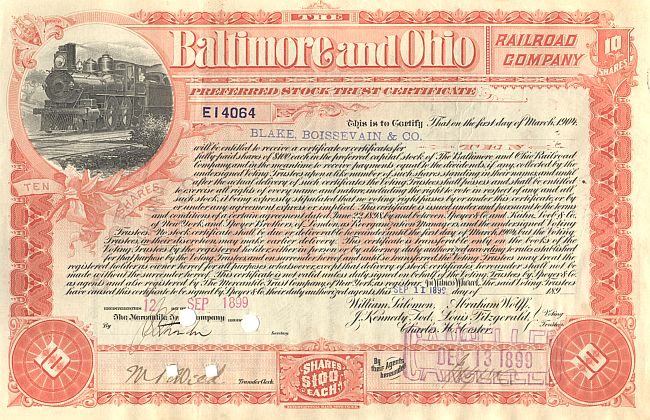 Baltimore and Ohio Railroad Company historische Wertpapiere - alte Aktien