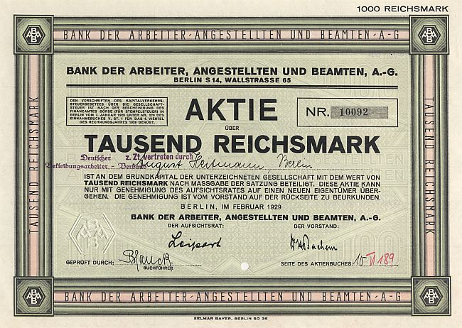 Bank der Arbeiter, Angestellten und Beamten, A.-G. historic stocks - old certificates