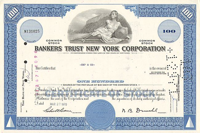 Bankers Trust New York Corporation (100 Shares) -  historic stocks - old certificates Banks and Insurance