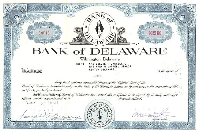 Bank of Delaware historic stocks - old certificates