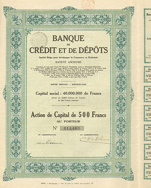Banque Credit et de Depots historic stocks - old certificates