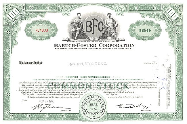 Baruch-Foster Corporation historic stocks - old certificates